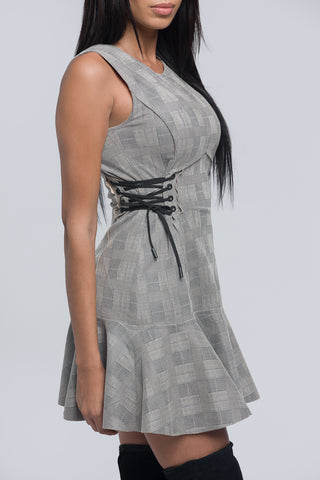 gray plaid dress, fall dress