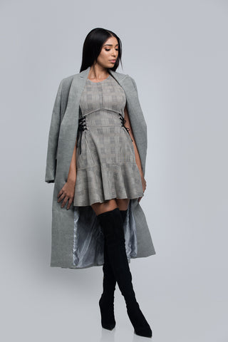 gray plaid dress, fall look, gray long coat