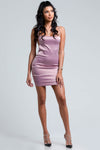 satin mini dress, valentines day dress, vday dress, cute mauve dress, cute valentines day dress
