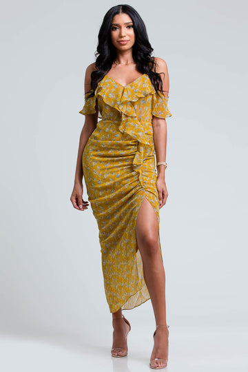 Yellow Floral Ruffle Dress