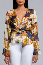 Chain Print Knot Top