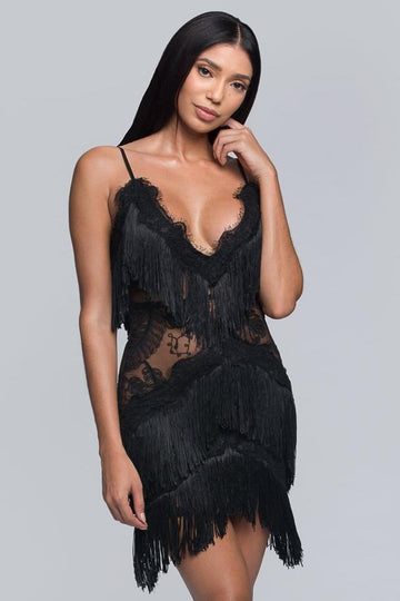 Embroidered Fringe Bodycon Dress - Black