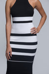 Striped High-Neck Midi Dress - White
