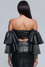 Ruffle Sleeve Faux Leather Crop Top