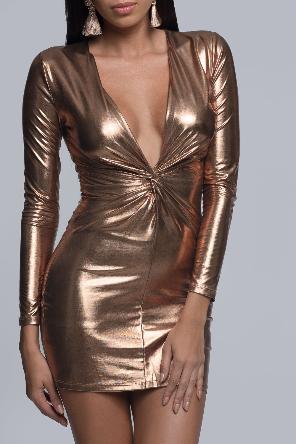 Metallic Long Sleeve Knot Mini Dress - Bronze