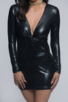 Metallic Long Sleeve Knot Mini Dress - Black