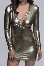Metallic Long Sleeve Knot Mini Dress - Pewter