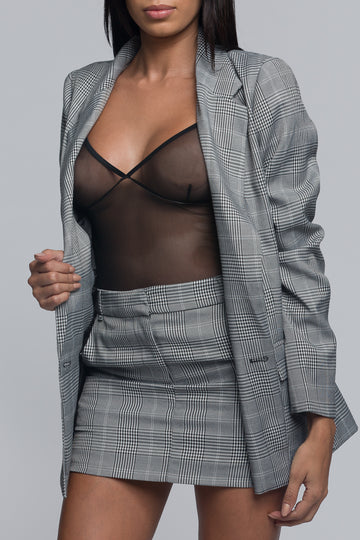 Plaid Blazer and Skirt Set