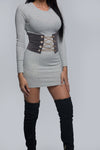 Chained Velvet Corset - Gray