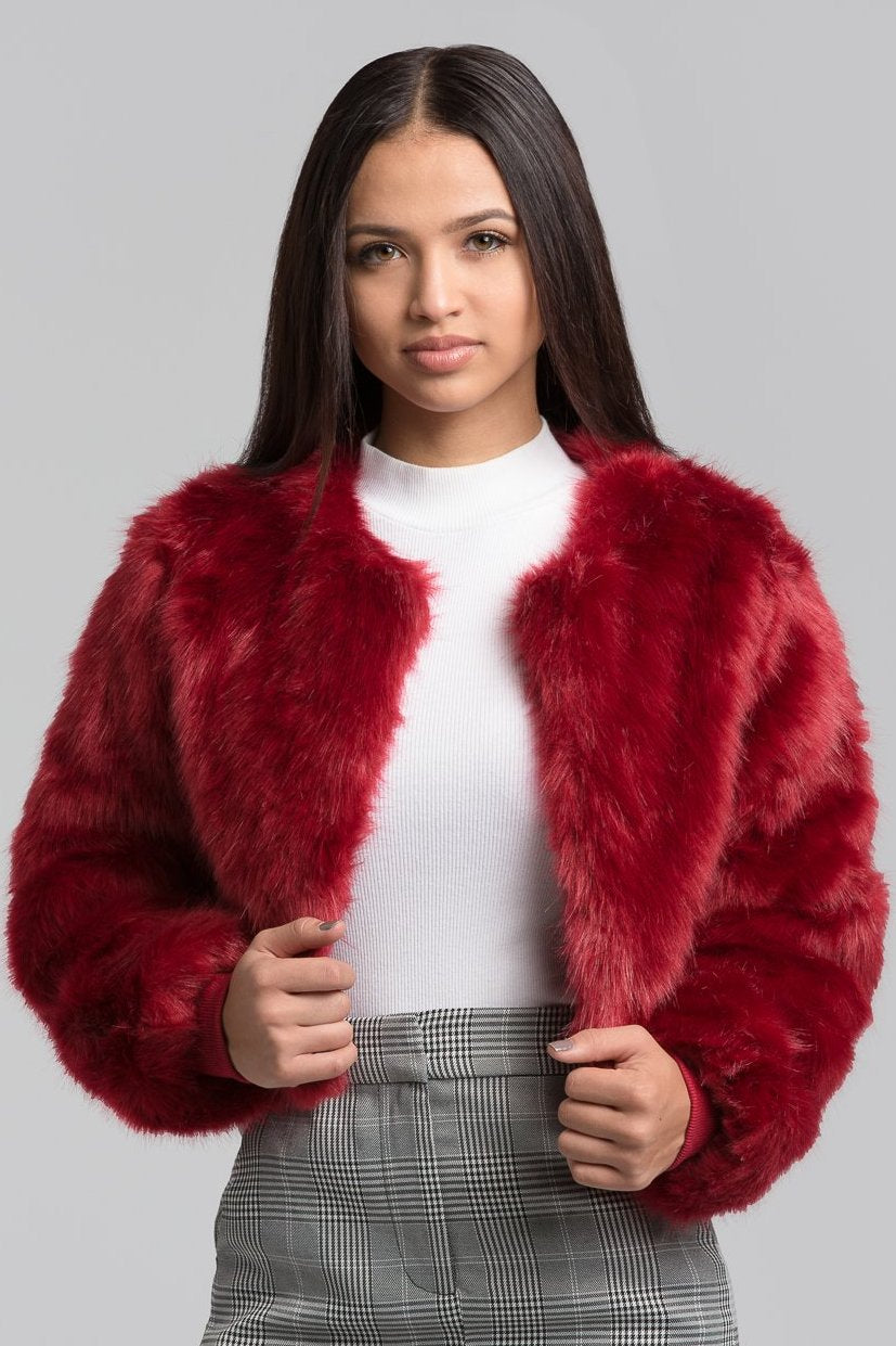 new images of sells excellent quality Burgundy Faux Fur Coat – Sheer Collective