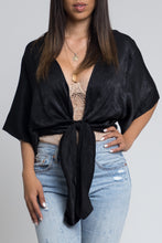 Satin Tie-Front Top - Black