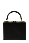 Faux Leather Box Bag - Black