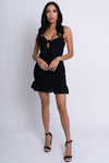 mini dress, black ruffle dress, vacation dress