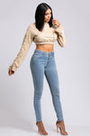 Lace-Up Sleeve Cropped Sweatshirt - Sand