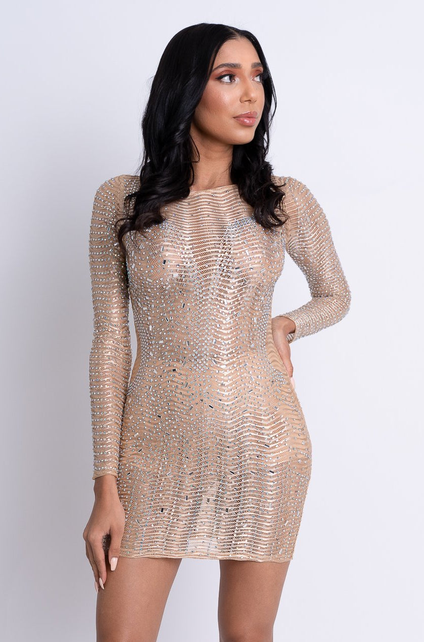 Embellished Mini Dress