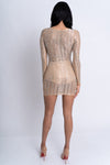 nude party dress, long sleeve party dress, nude sequin dress