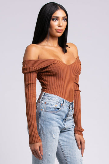 Off-Shoulder Ribbed Bodysuit - Rust