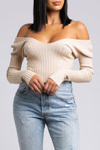 Off-Shoulder Ribbed Bodysuit - Taupe