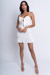 white mini dress, mini ruffle dress, white brunch dress