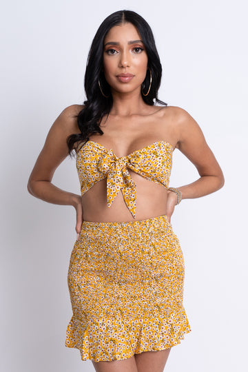 Floral Two Piece Set - Yellow