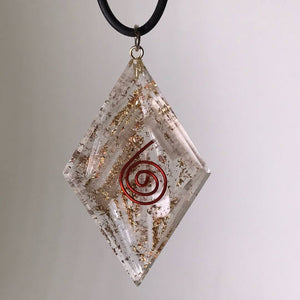 Selenite Pendant w/ Copper Spiral Necklace