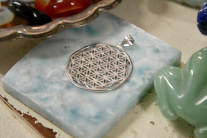 "Sterling Silver Flower of Life Pendant (1"")"