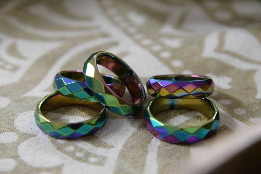 Faceted Rainbow Hematite Ring