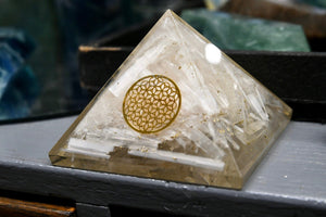 Selenite + Copper Flower of Life Pyramid