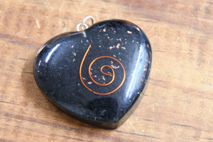 Shungite Heart w/ Copper Spiral EMF Protection Pendant Necklace