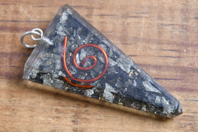 Pyrite Triangle w/ Copper Spiral EMF Protection Pendant Necklace