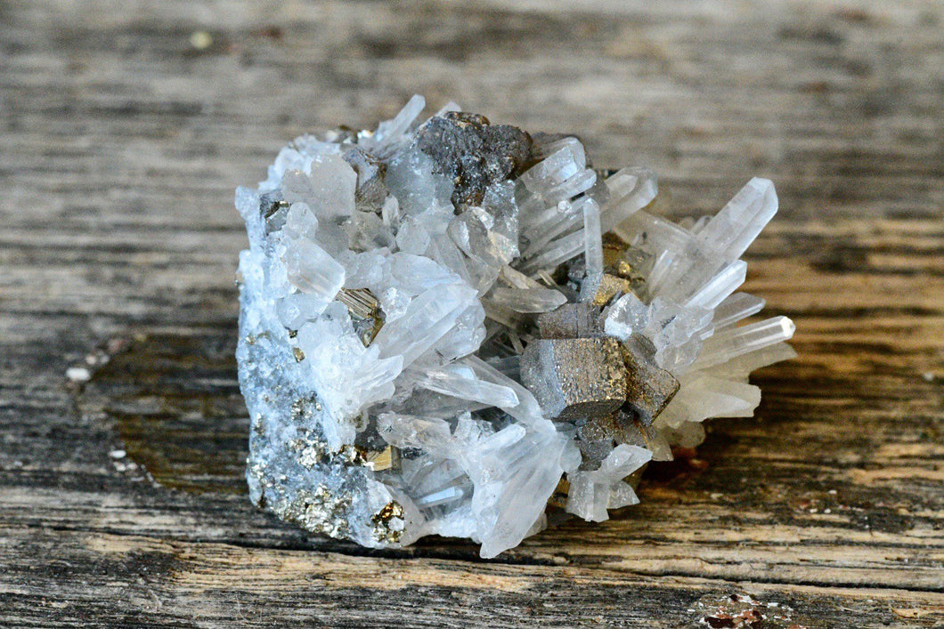Galena + Pyrite in Quartz Matrix Cluster (47 g)