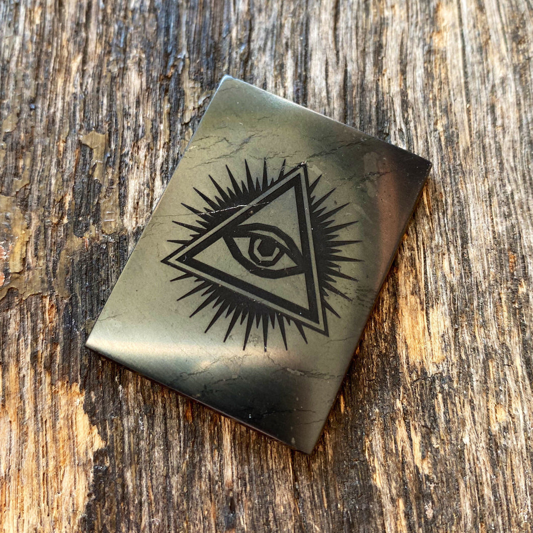 "Shungite (1"") Phone Button w/ All-Seeing Eye for EMF Protection"