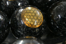 Black Tourmaline Sphere w/ Copper Flower of Life