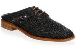 ROBERT CLERGERIE-Jaly Black Raffia Mule Sandals