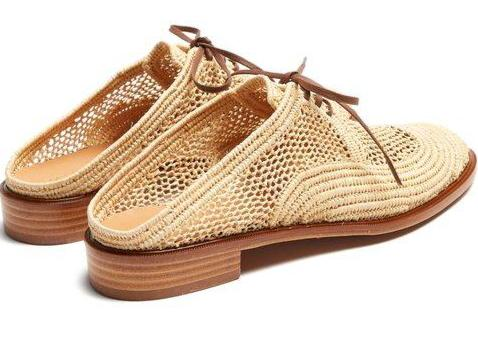 ROBERT CLERGERIE-Jaly Raffia Lace-up Mule.