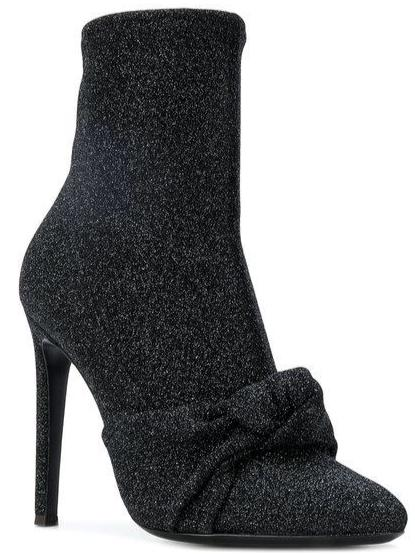 Celeste Glitter Sock Boot With Knot Detail