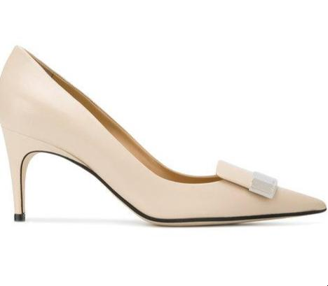 Sergio Rossi Chalk Leather Mid Pumps Pointed Toe with Logo Plaque