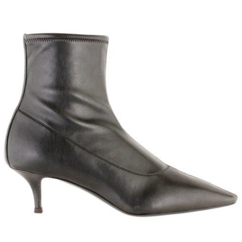 Notte black leather Pointed sock boots