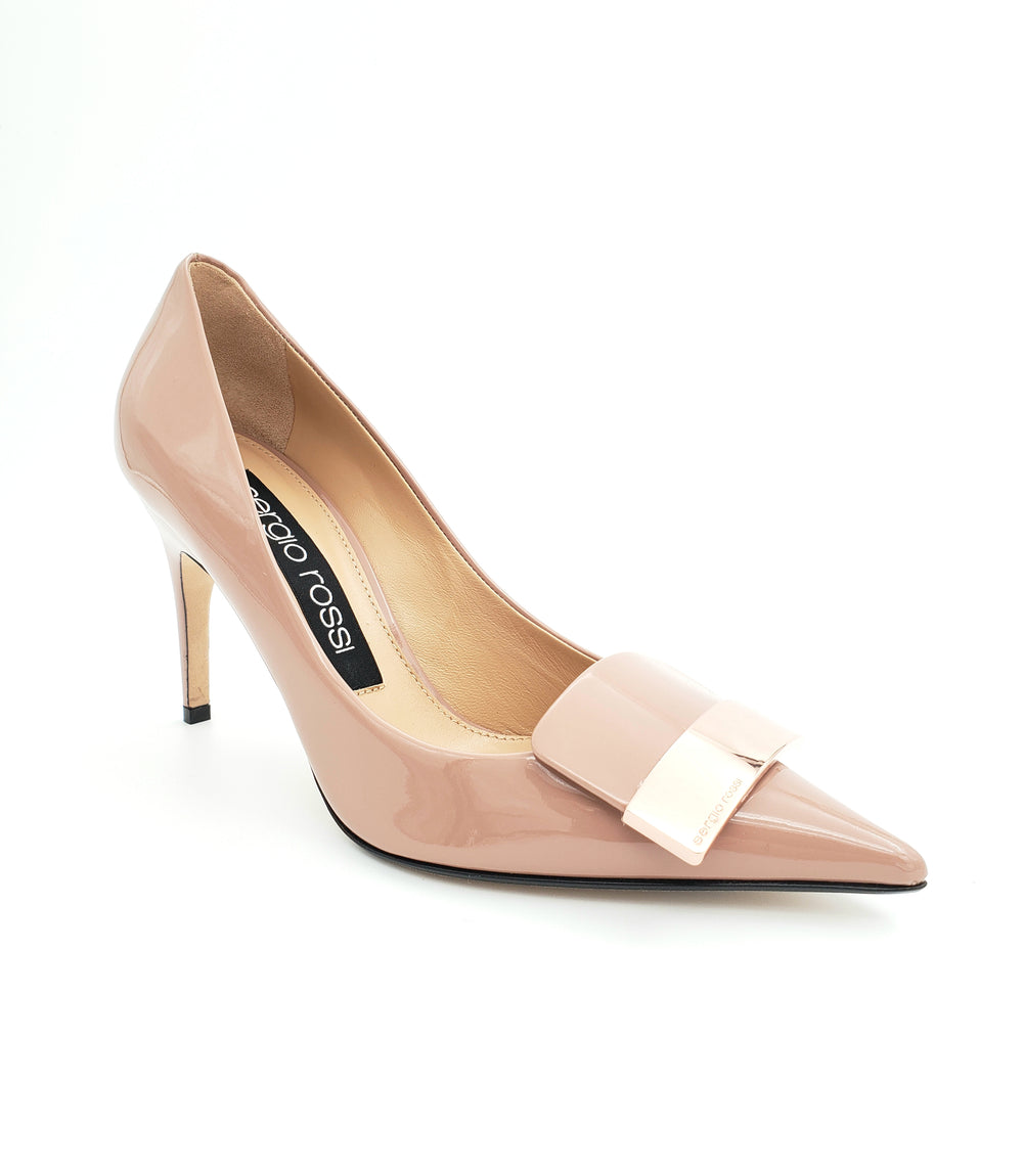 Nude patent pump with rose gold plate
