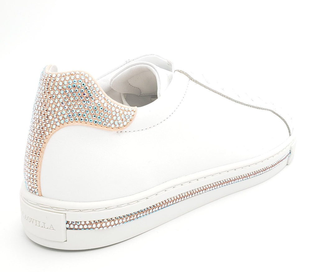 Xtra sneakers white with shimmer contrast strass - Rene Caovilla - Liberty Shoes Australia