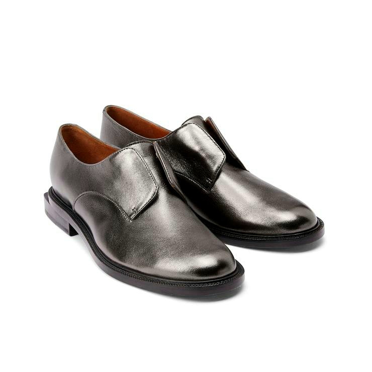 Rayane Grey Metal Leather Loafer