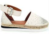 Cream leather espadrilles with stud detail