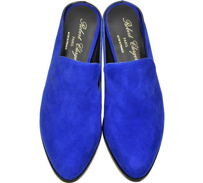 Robert Clergerie Shoes - Alice Electric Blue Suede Mules - Top View