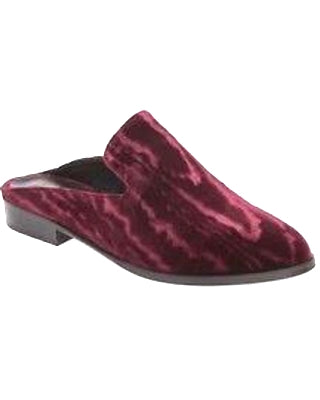 Burgundy burnout velvet Robert Clergerie mules with a unique, rich texture. Low, stacked heel and leather sole