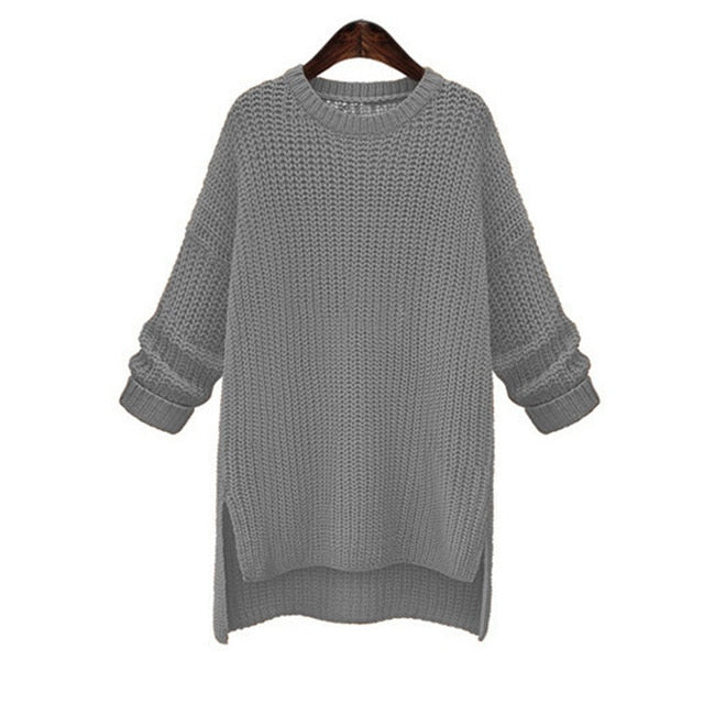 Autumn/Winter Mid/Long Thick Sweaters O-Neck Cute Solid Knitted Pullovers