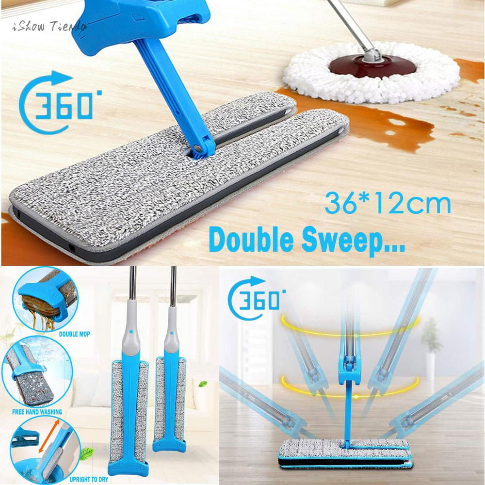 New Double-Side Flat Mop. Hands-Free Washable Mop.