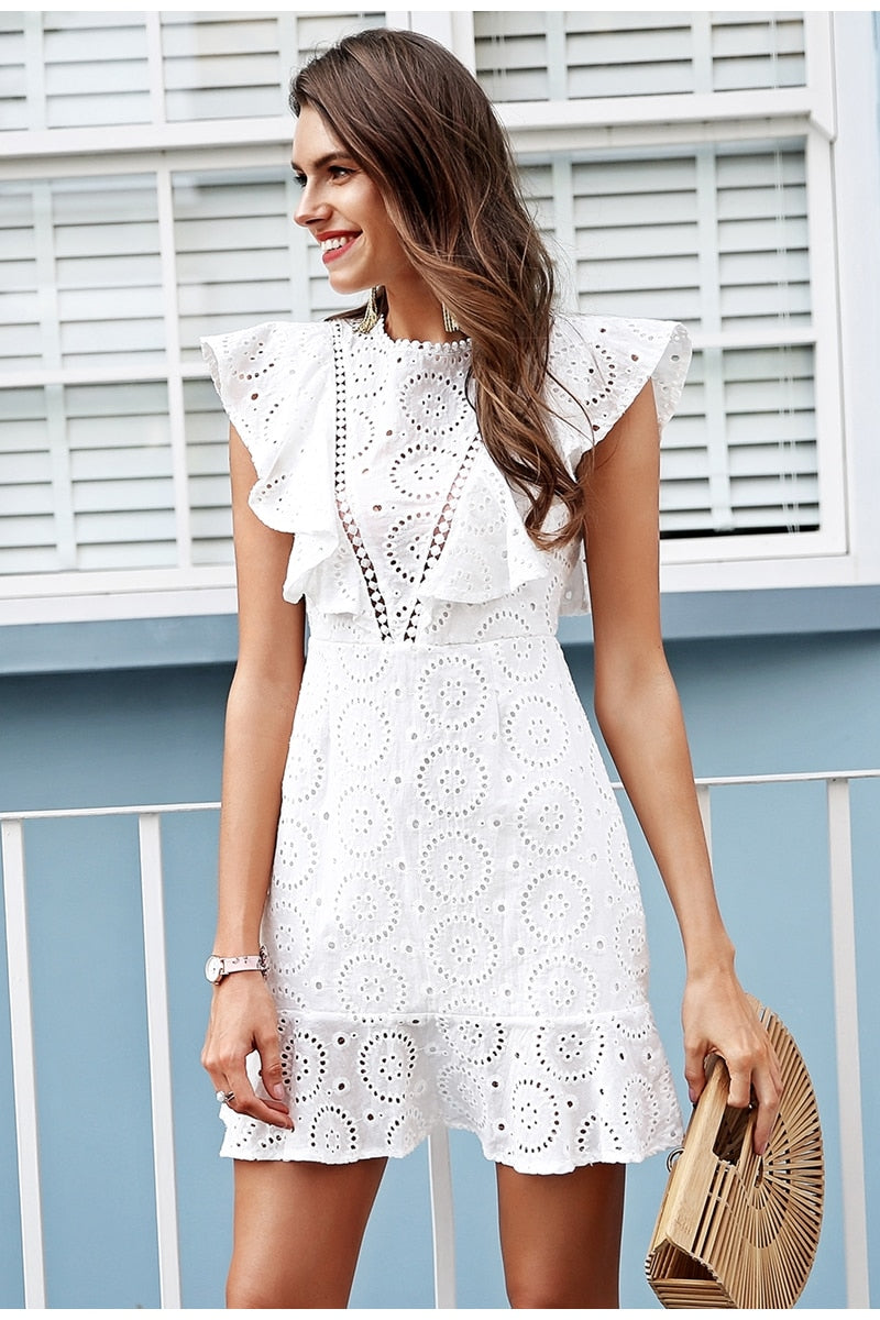 White cotton dress women Ruffle sleeve high waist,short dress 2019 Keyhole back casual dress female