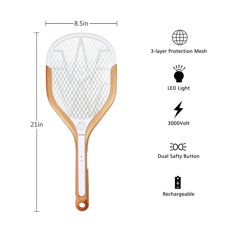 Rechargeable Electric Racket Mosquito&Fly Killer. LED Lights and Fast Charging