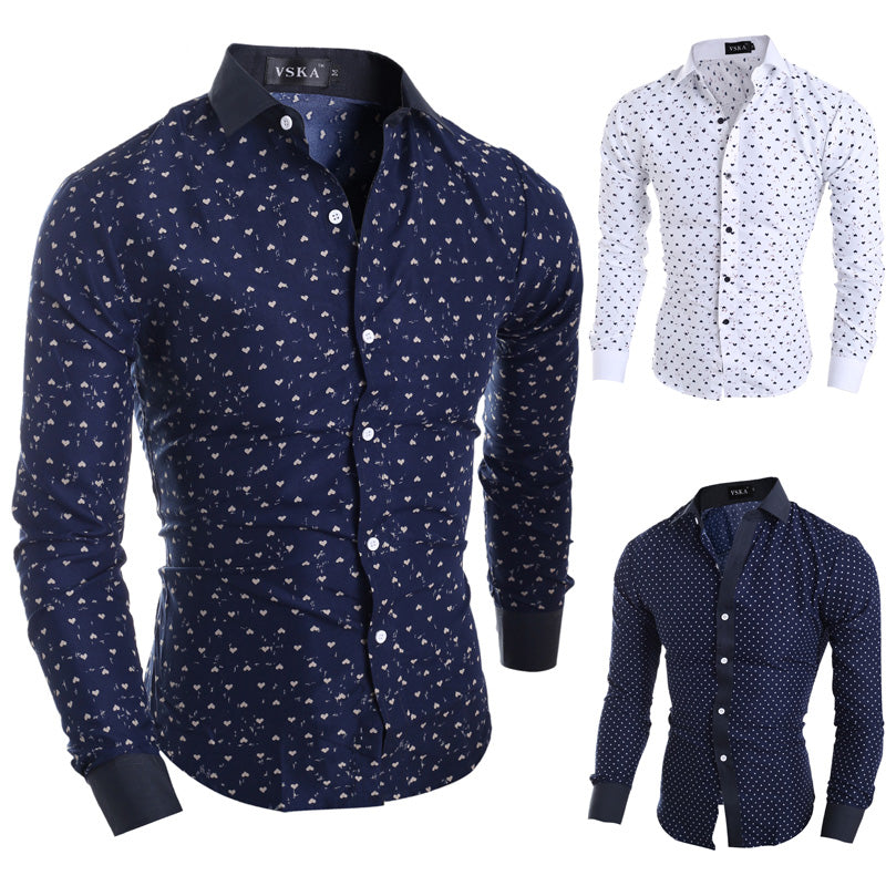 New Brand Stars Hearts Prints Fashion Men's Dress Shirts Long sleeve Slim Fit Casual Social