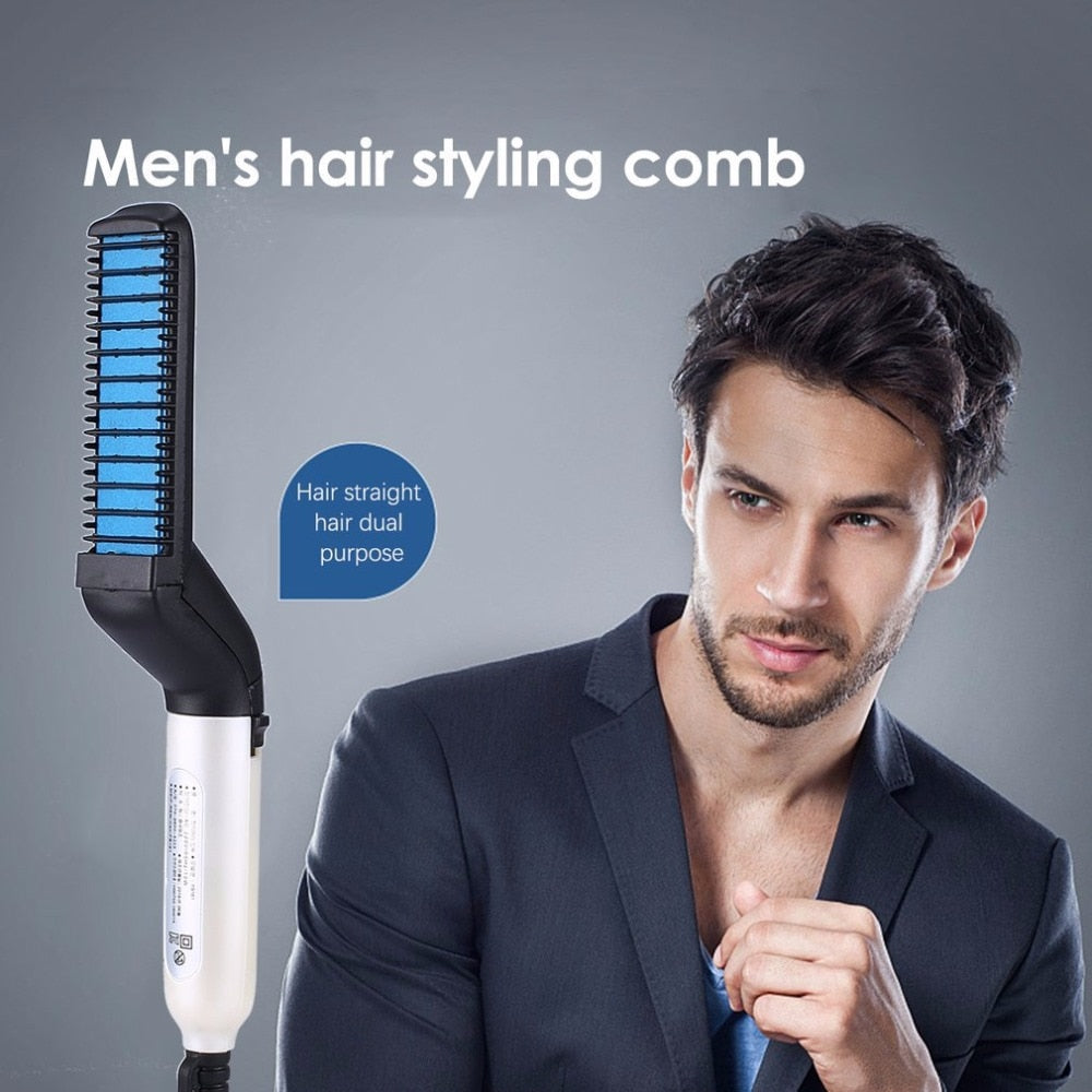 Quick Beard Straightener Magic Comb Multi-functional. Electric Tool Hair Styler for Men